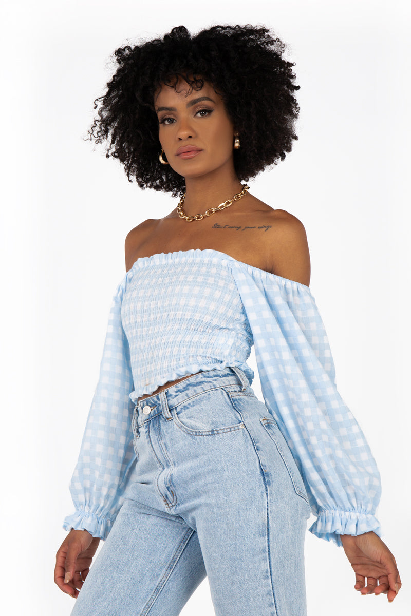 LUCIA SHIRRED ICE BLUE GINGHAM TOP