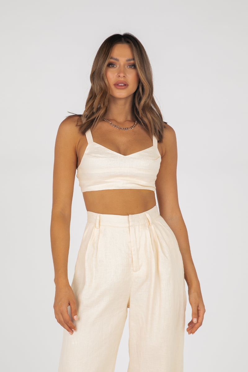 AMARI CREAM LINEN PIN TUCK CROP