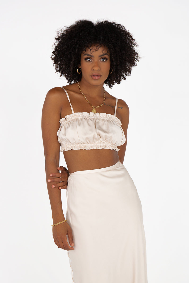 AGNES CREAM SATIN CROP TOP