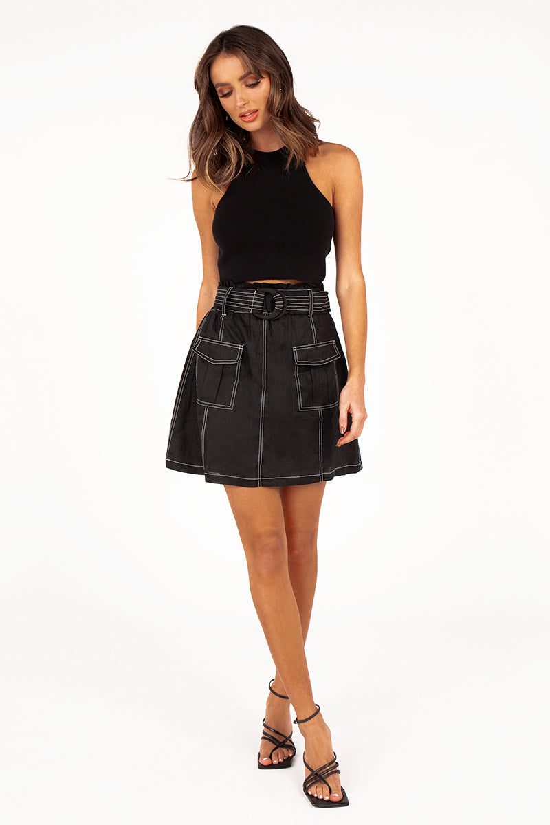 DYNAMO BLACK LINEN MINI SKIRT