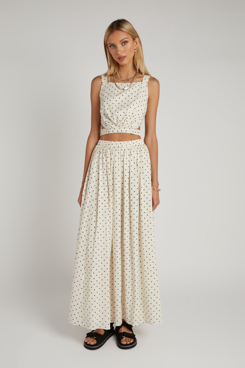 SORRENTO NATURAL SPOT MIDI SKIRT
