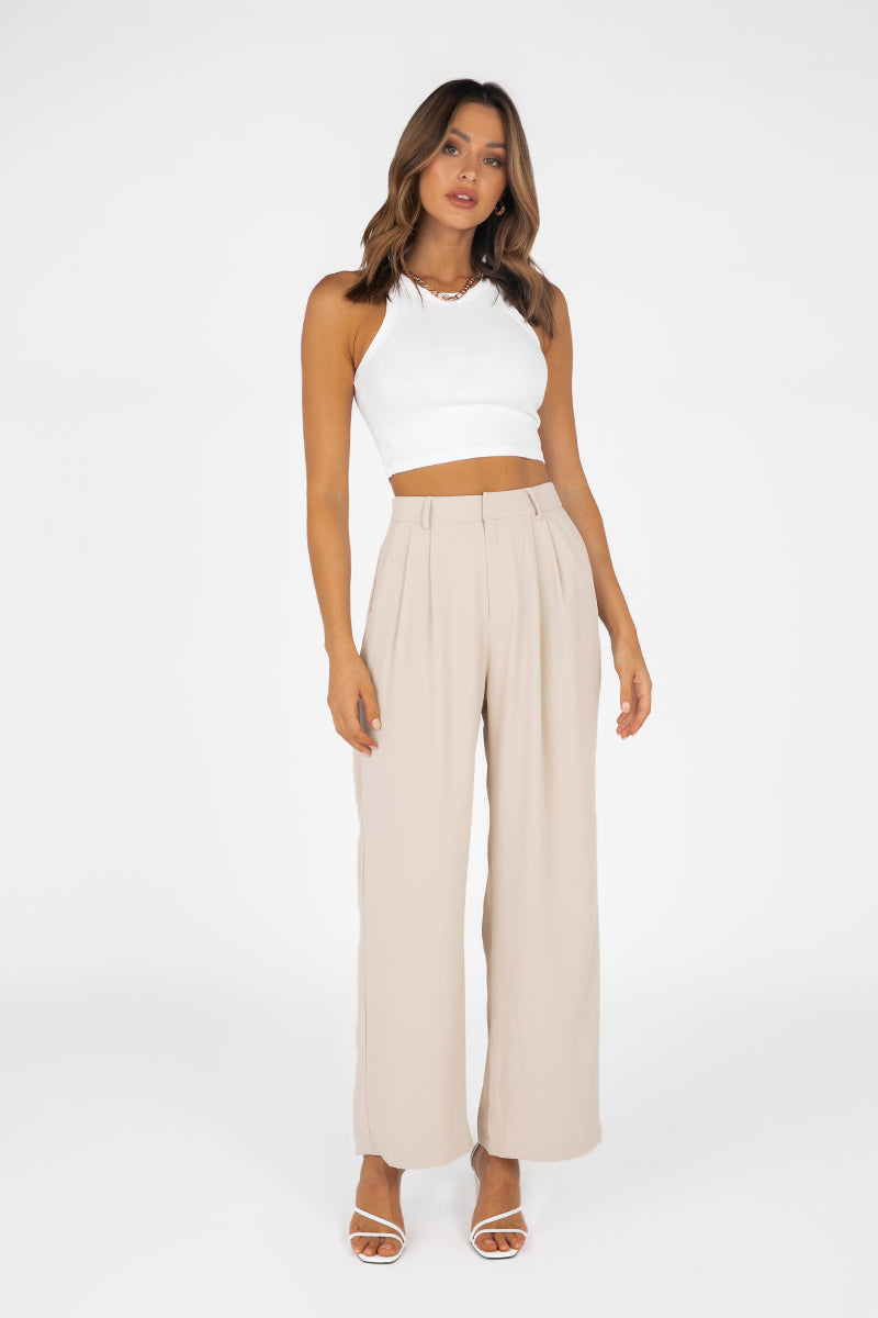 MELROSE BEIGE PLEATED PANT