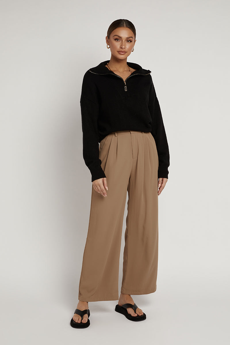 MELROSE CHOCOLATE PLEATED PANT