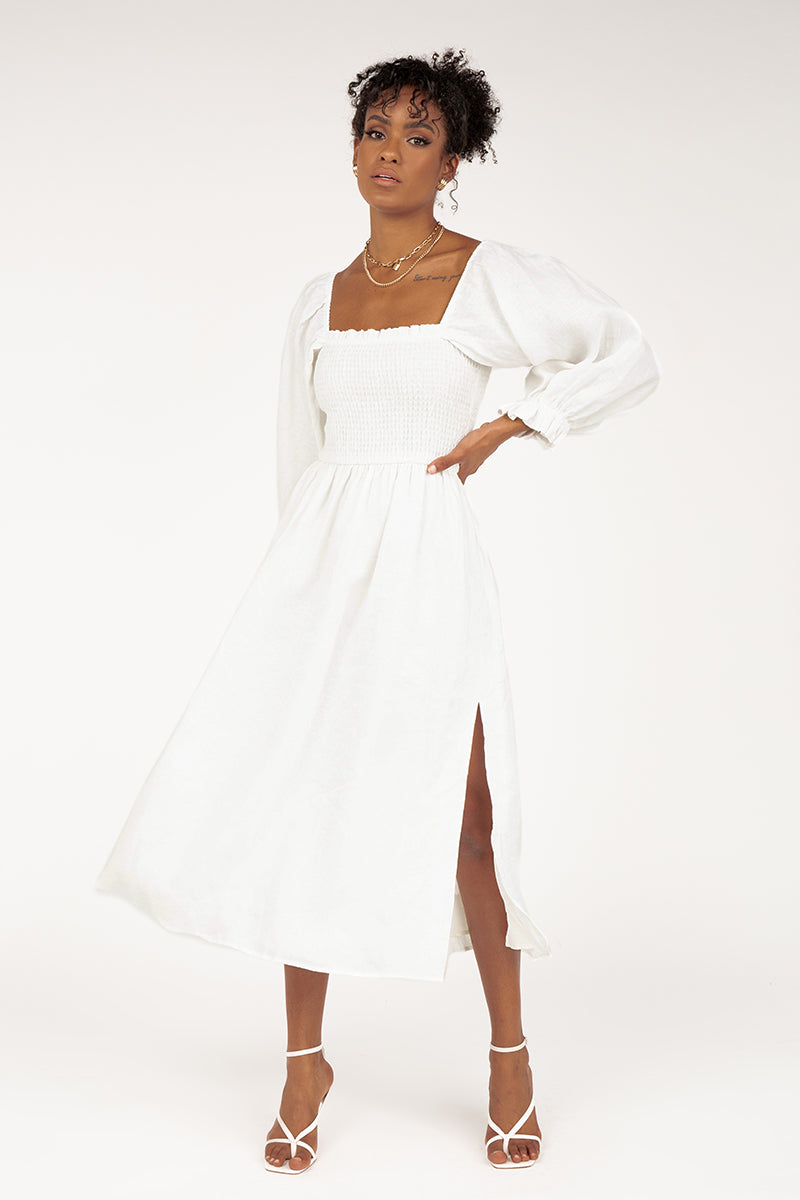 DUSK SHIRRED WHITE LINEN MIDI DRESS