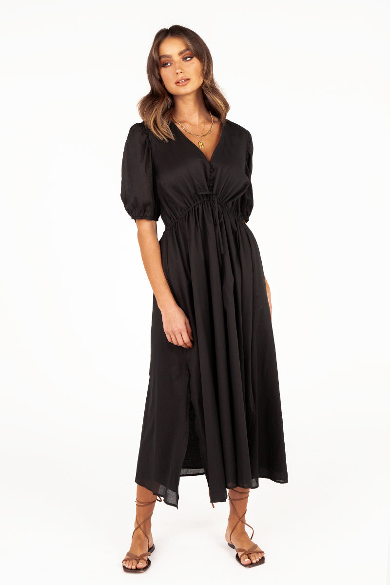 ALICE BLACK COTTON MIDI DRESS