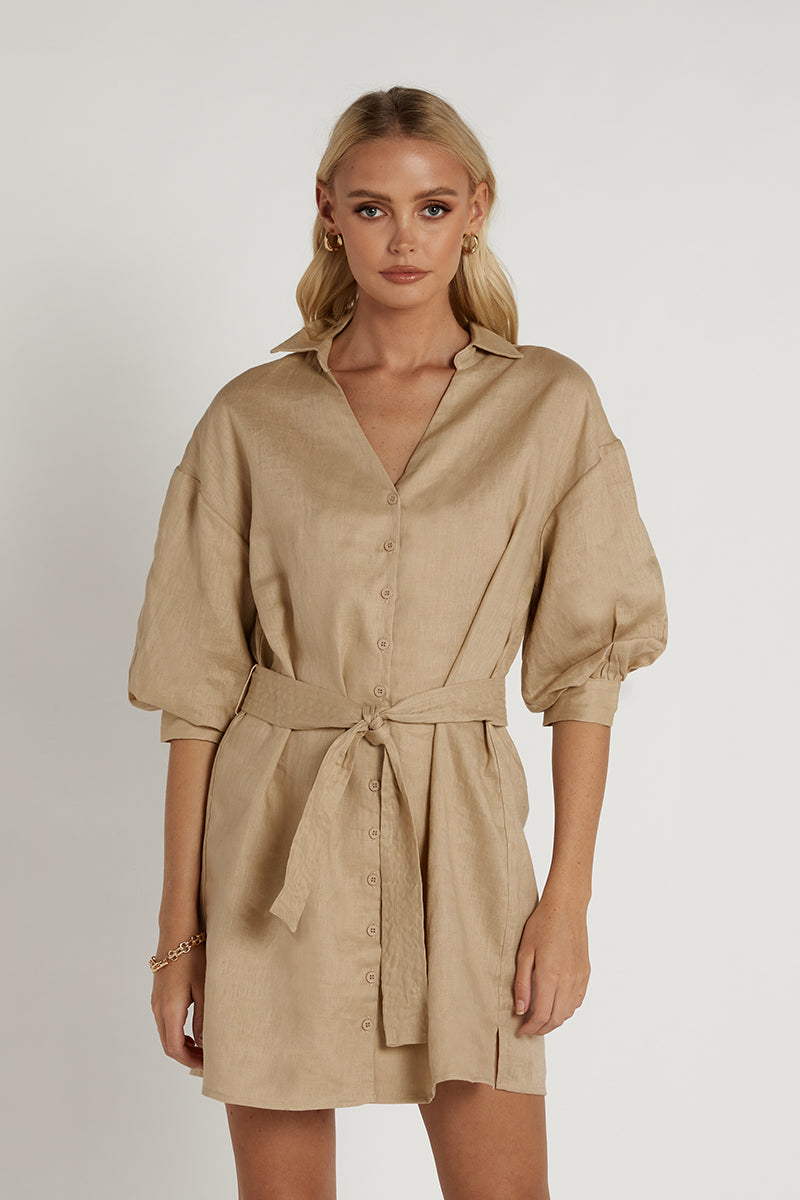 LIBBY STONE LINEN SHIRT DRESS