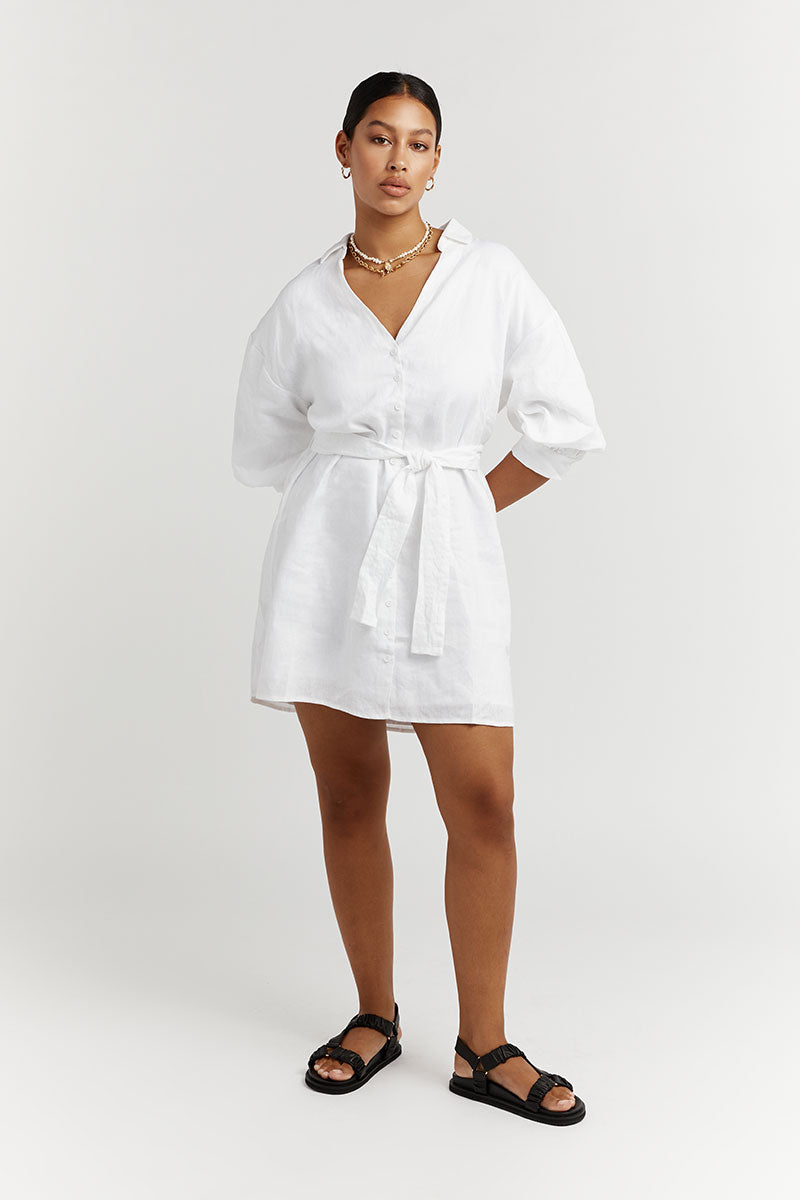 LIBBY WHITE LINEN SHIRT DRESS