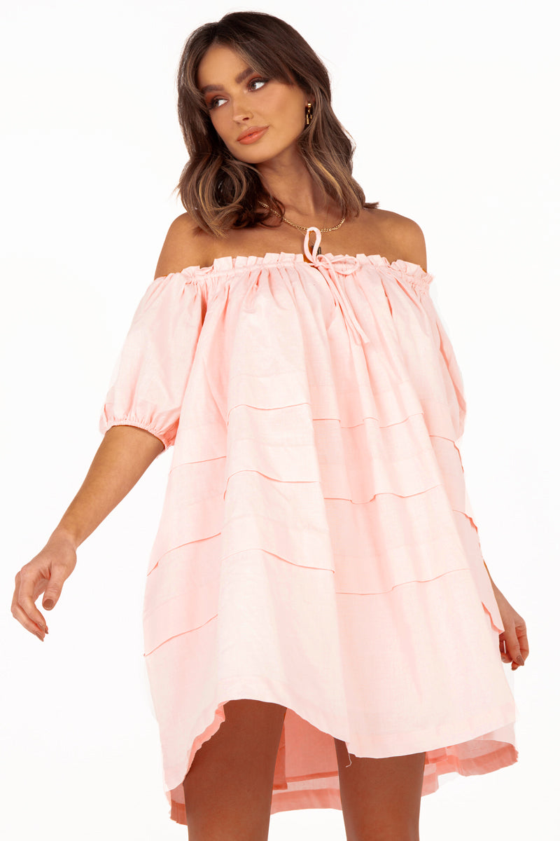 SHANNON SOFT PINK LINEN PLEAT DRESS