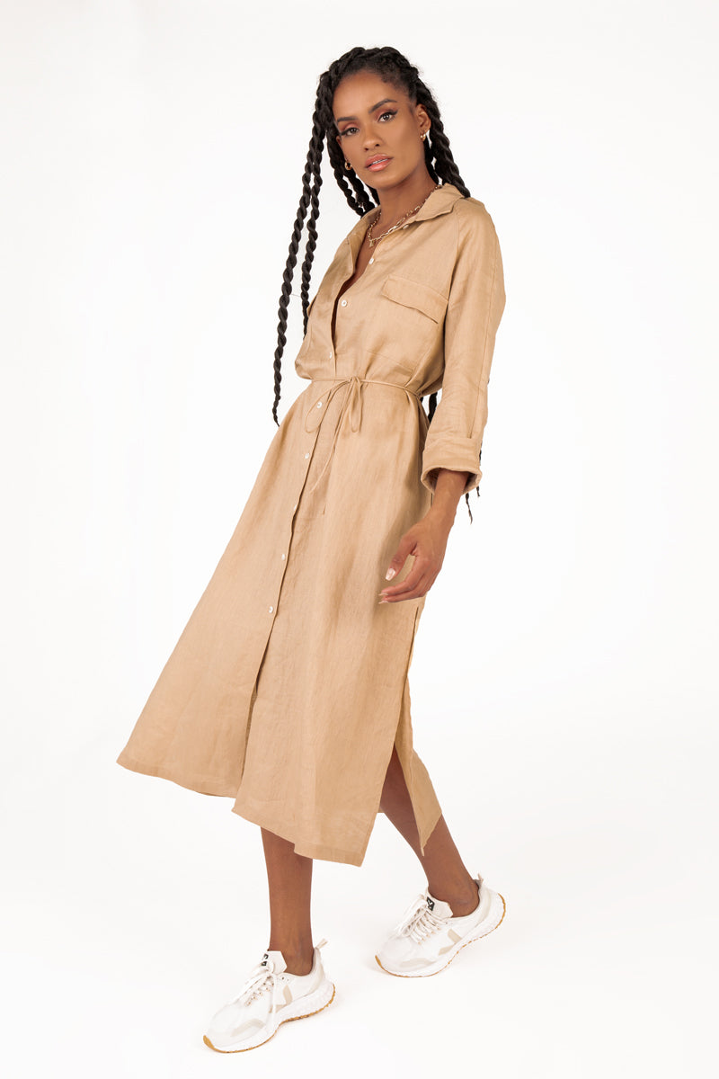 PERRY STONE LINEN SHIRT MIDI DRESS