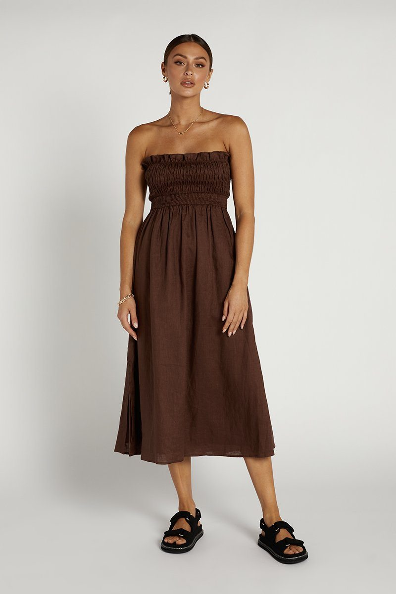 THEA CHOC SHIRRED LINEN MIDI DRESS