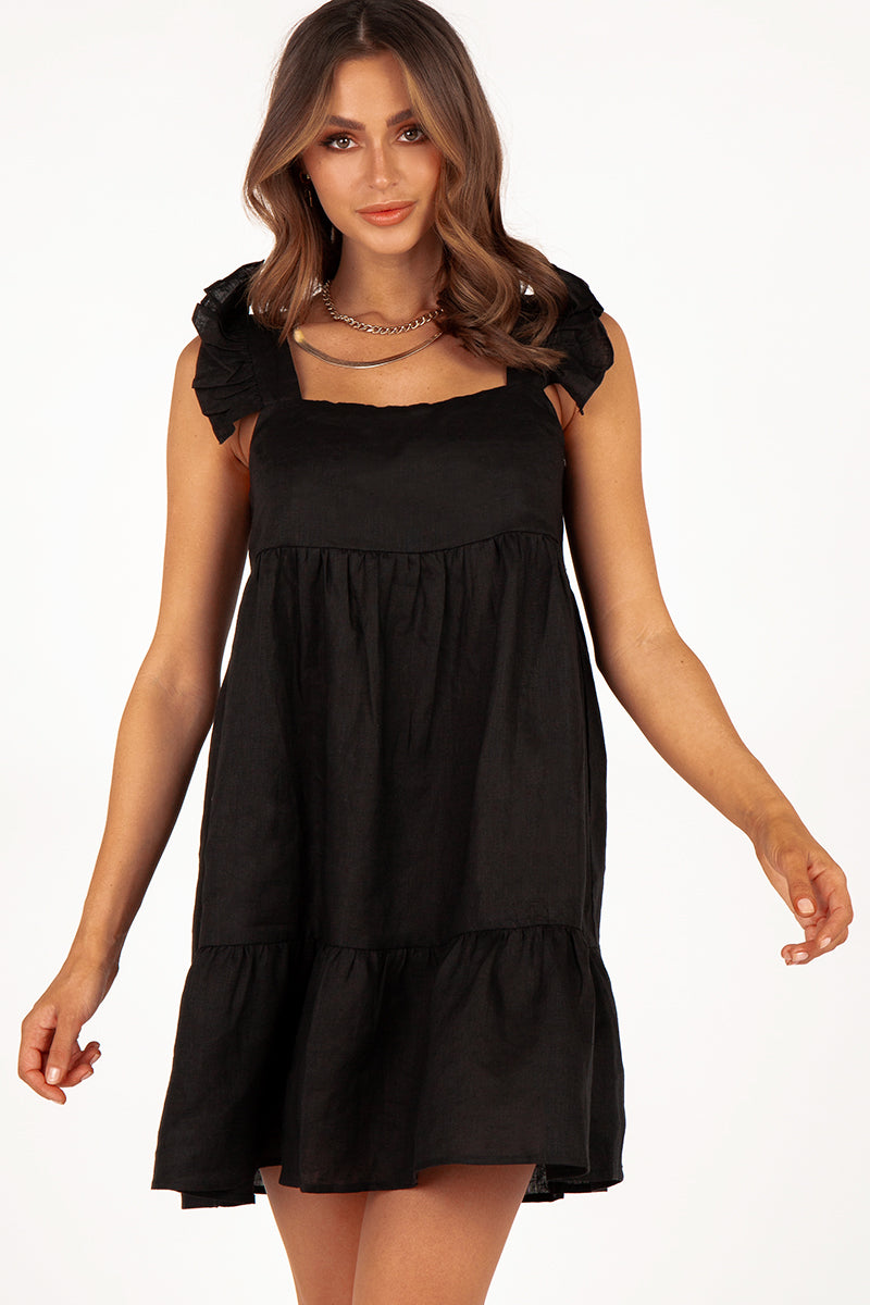 CHIARA BLACK LINEN BABYDOLL DRESS