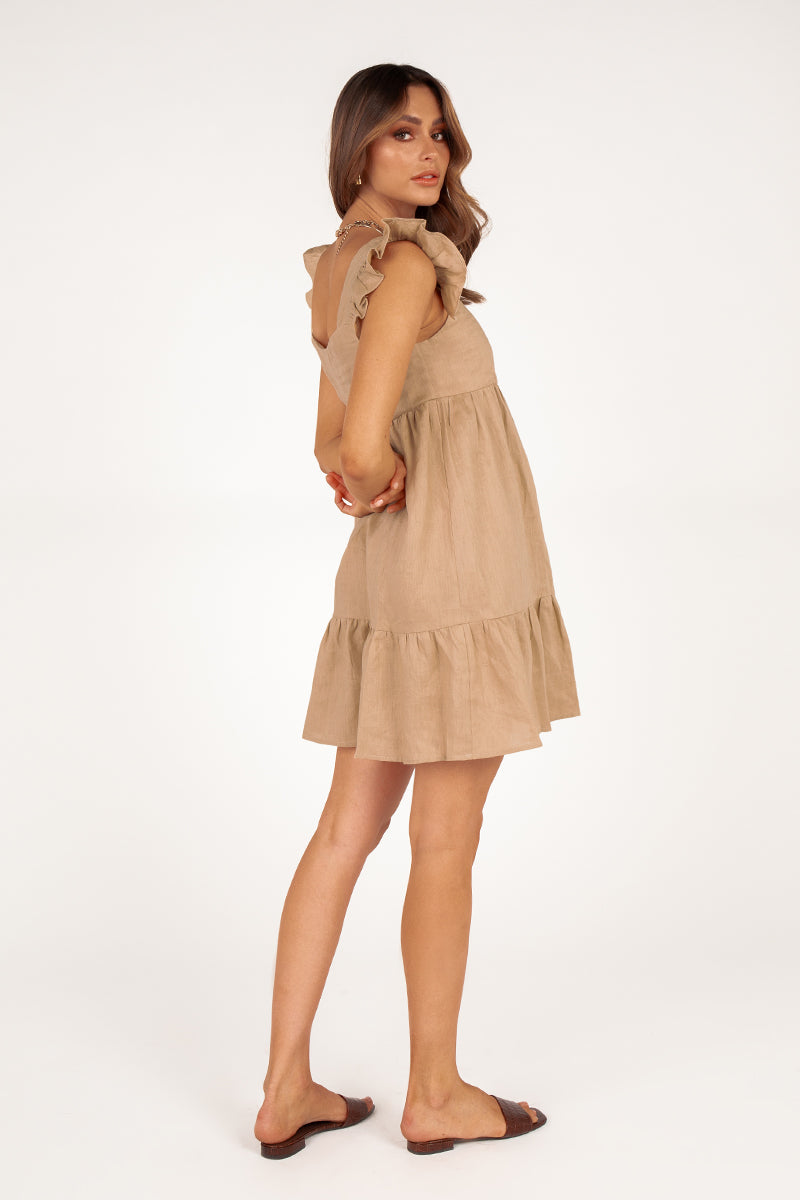 CHIARA STONE LINEN BABYDOLL DRESS
