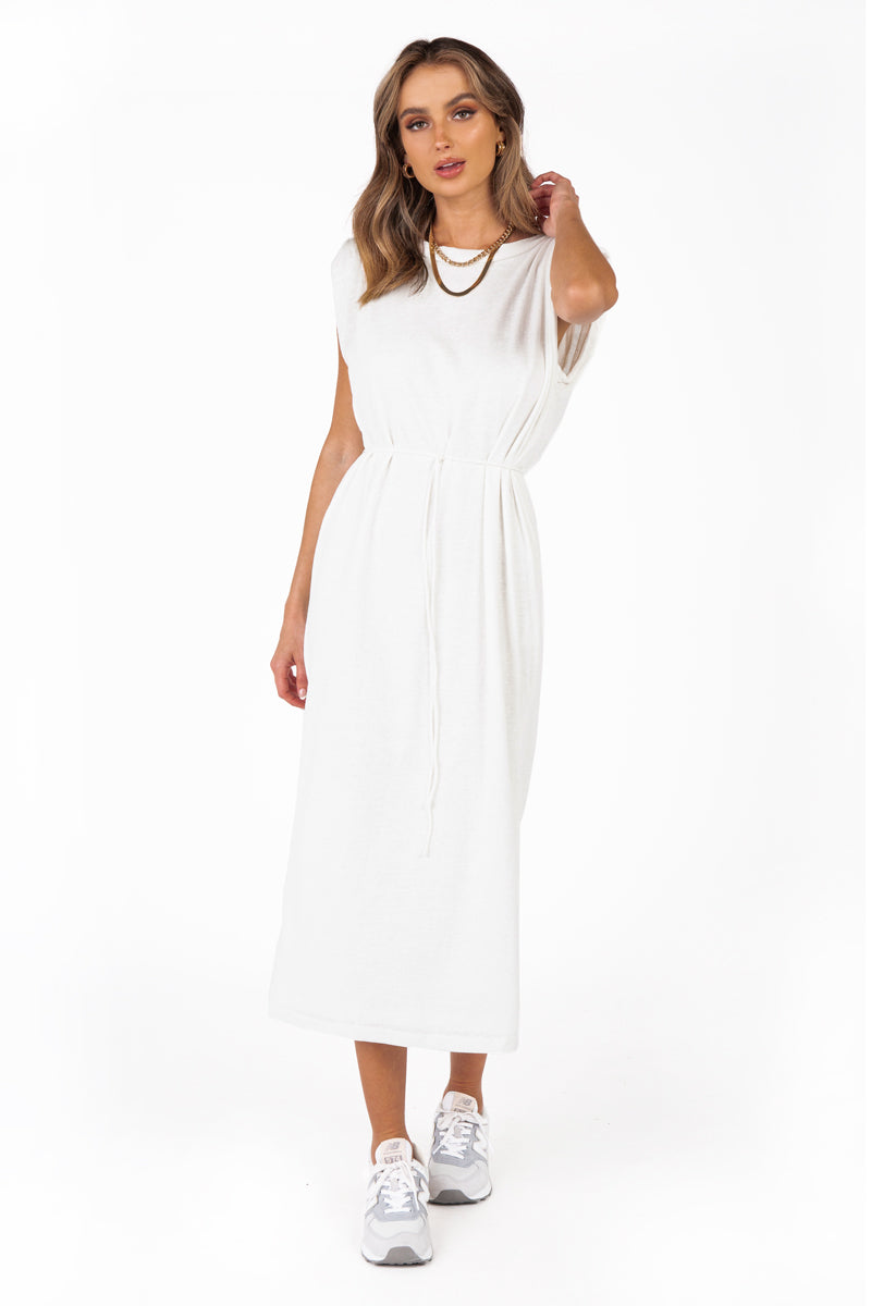ASHTON WHITE JERSEY MIDI DRESS