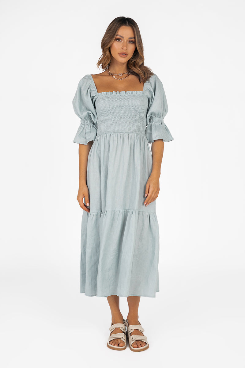 SARE SHIRRED ICE BLUE LINEN DRESS