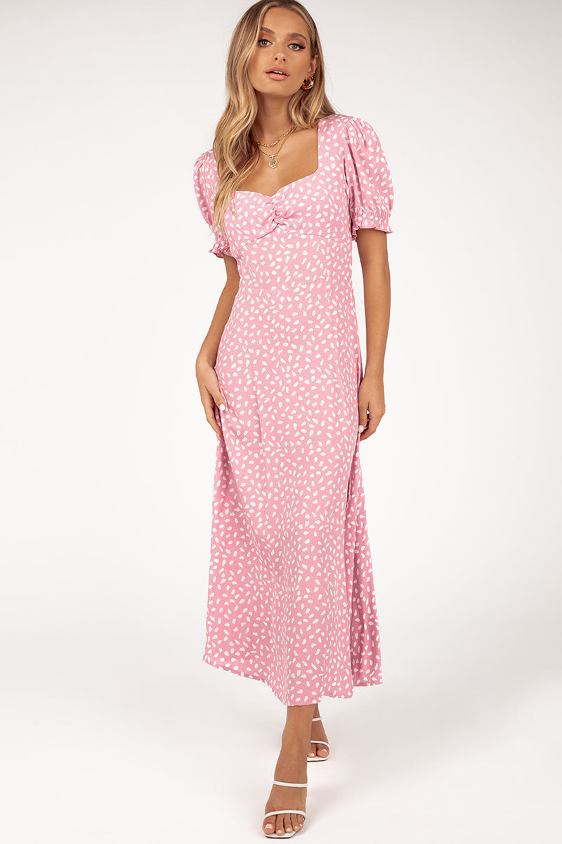 MARLEY PINK SPOT MIDI DRESS