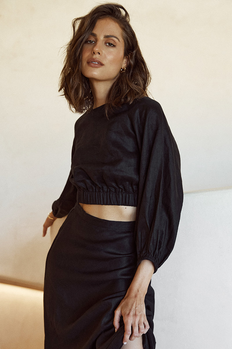 KARA BLACK LINEN CROP TOP
