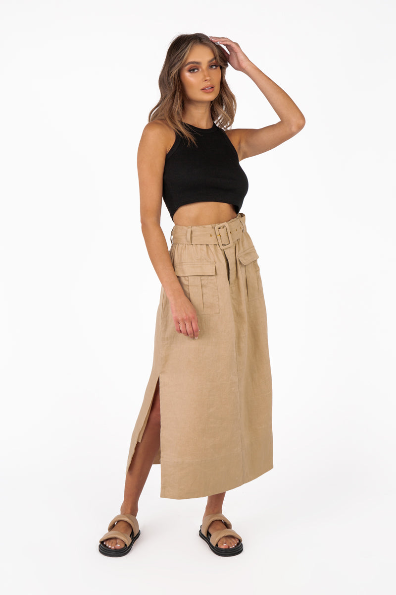 DELIA STONE LINEN POCKET MIDI SKIRT