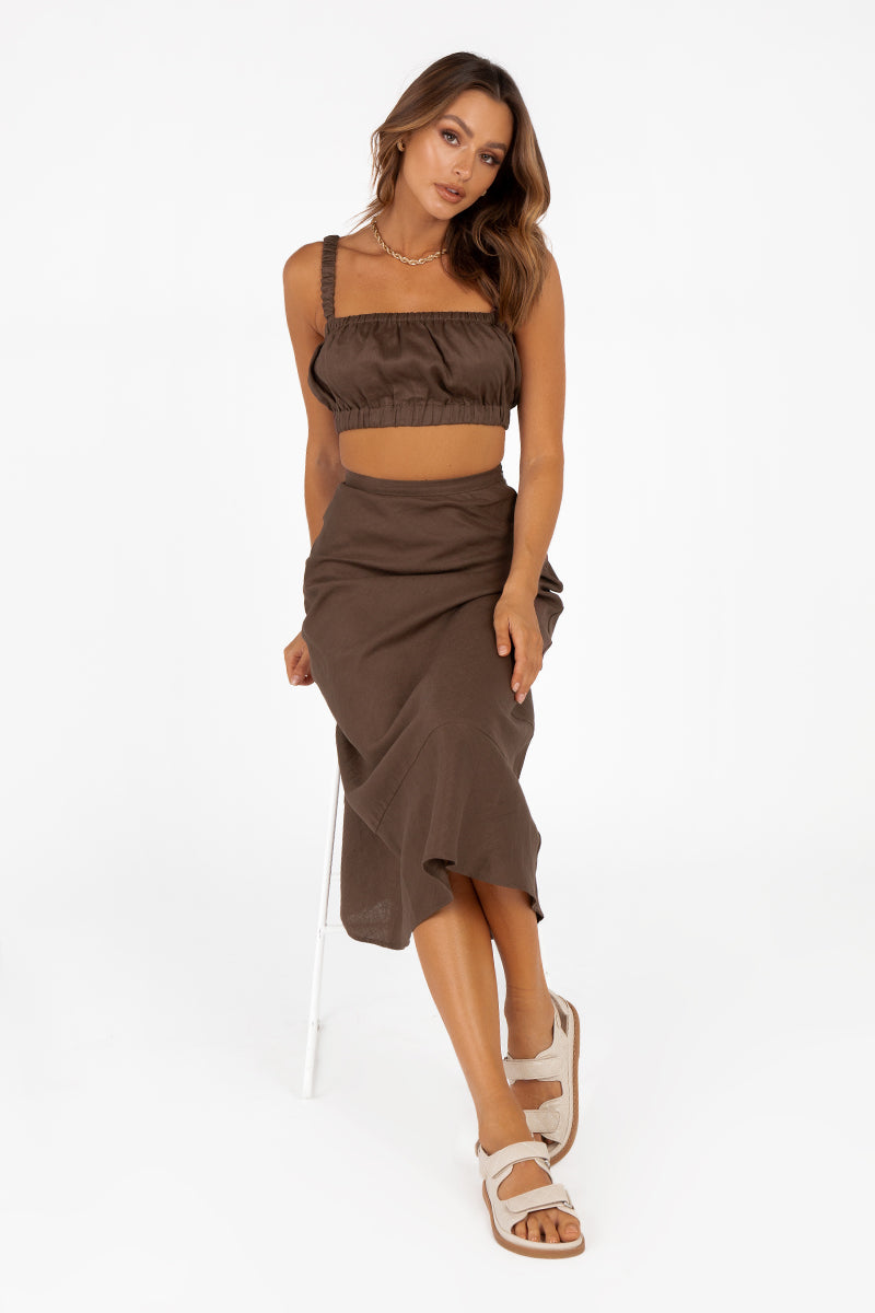 HAVANA CHOCOLATE LINEN MIDI SKIRT