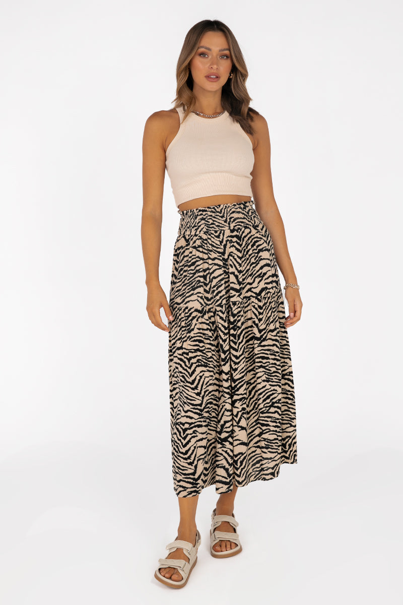 TORI BEIGE ZEBRA SHIRRED MIDI SKIRT
