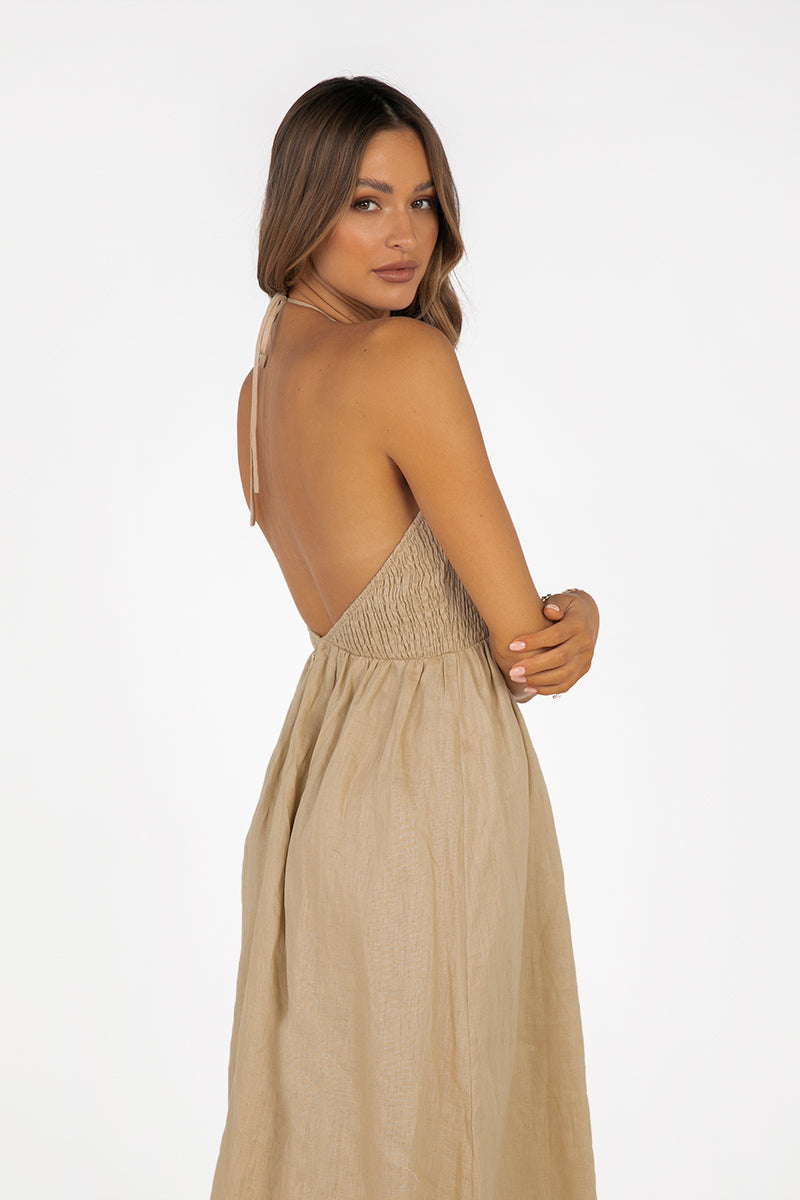 AJA STONE LINEN SHIRRED MIDI DRESS