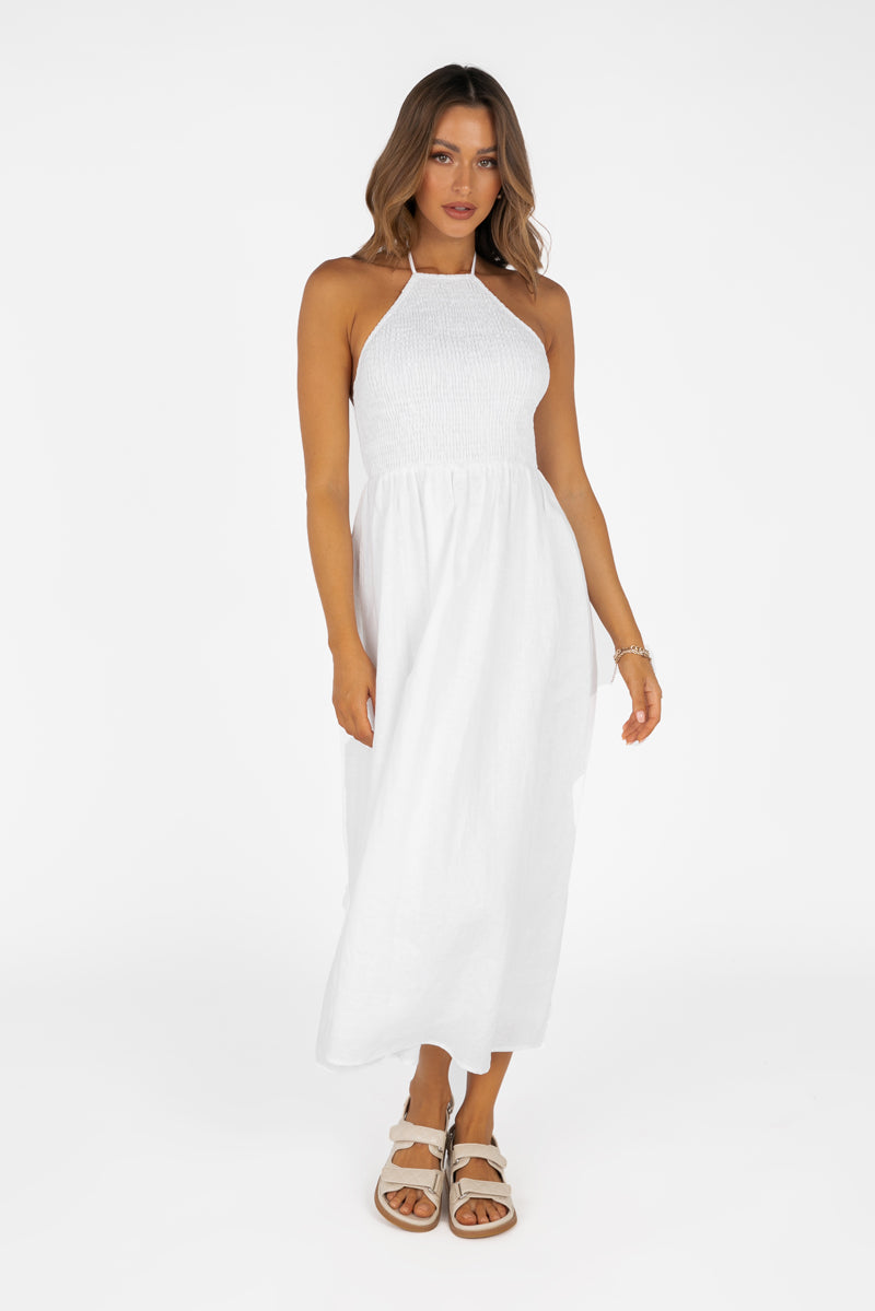 AJA WHITE LINEN SHIRRED MIDI DRESS
