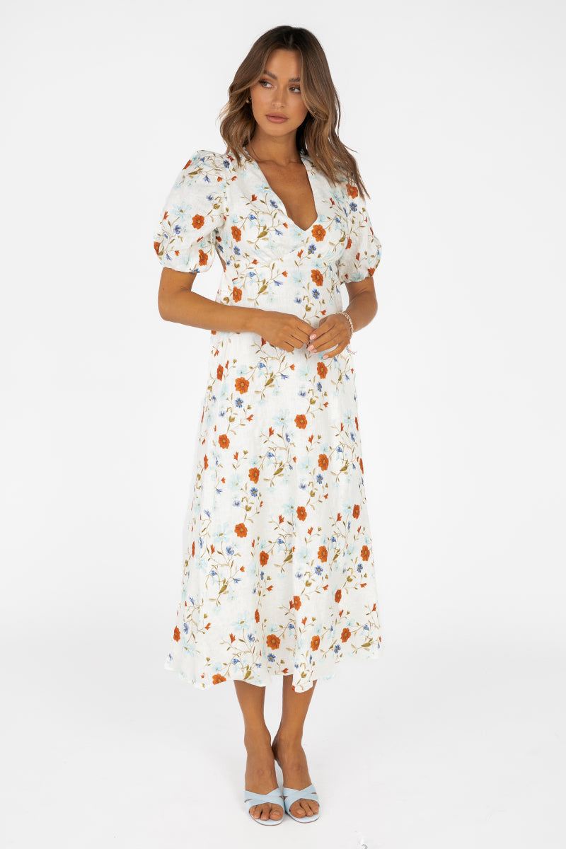 ISLA FLORAL TIE BACK MIDI DRESS