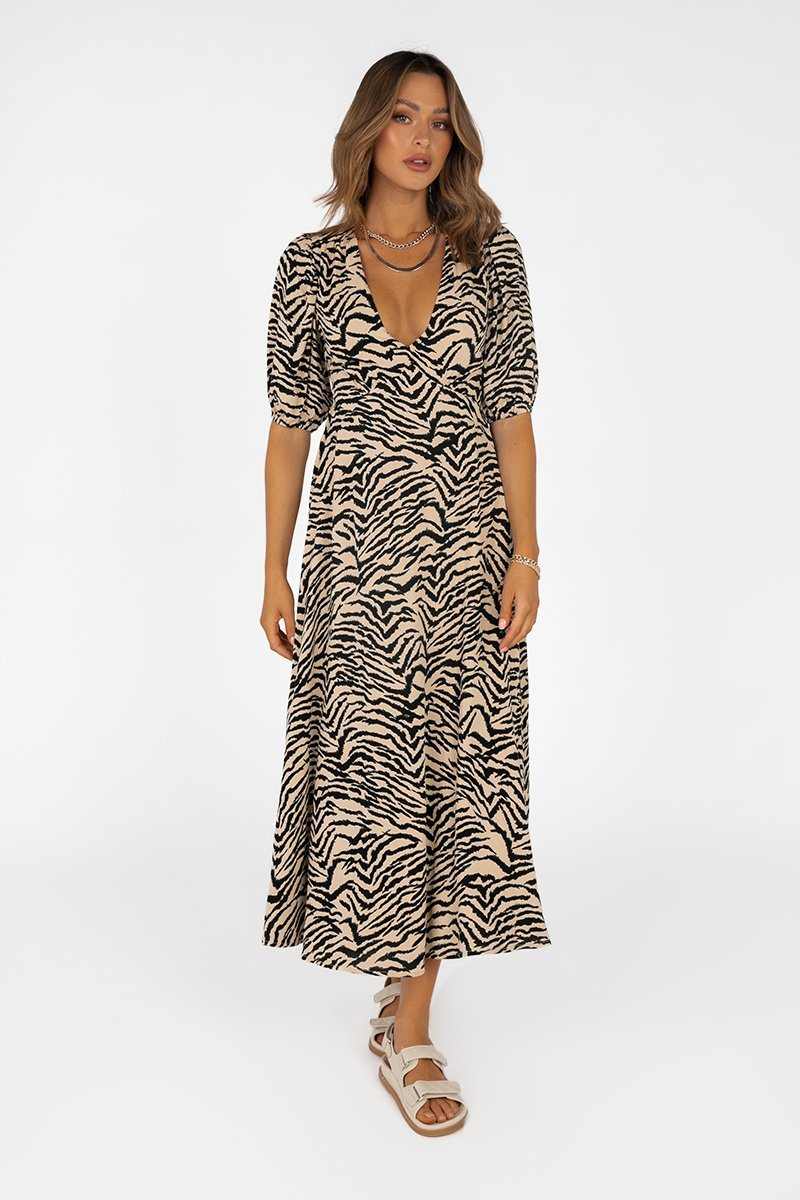 TORI BEIGE ZEBRA TIE BACK DRESS