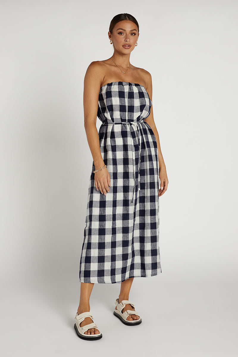 MAPLE NAVY CHECK MIDI DRESS