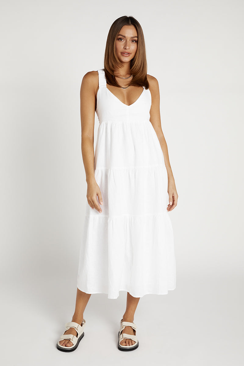 AMY WHITE LINEN MIDI DRESS