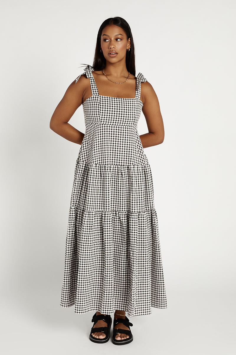 FENTON BLACK CHECK TIER MIDI DRESS