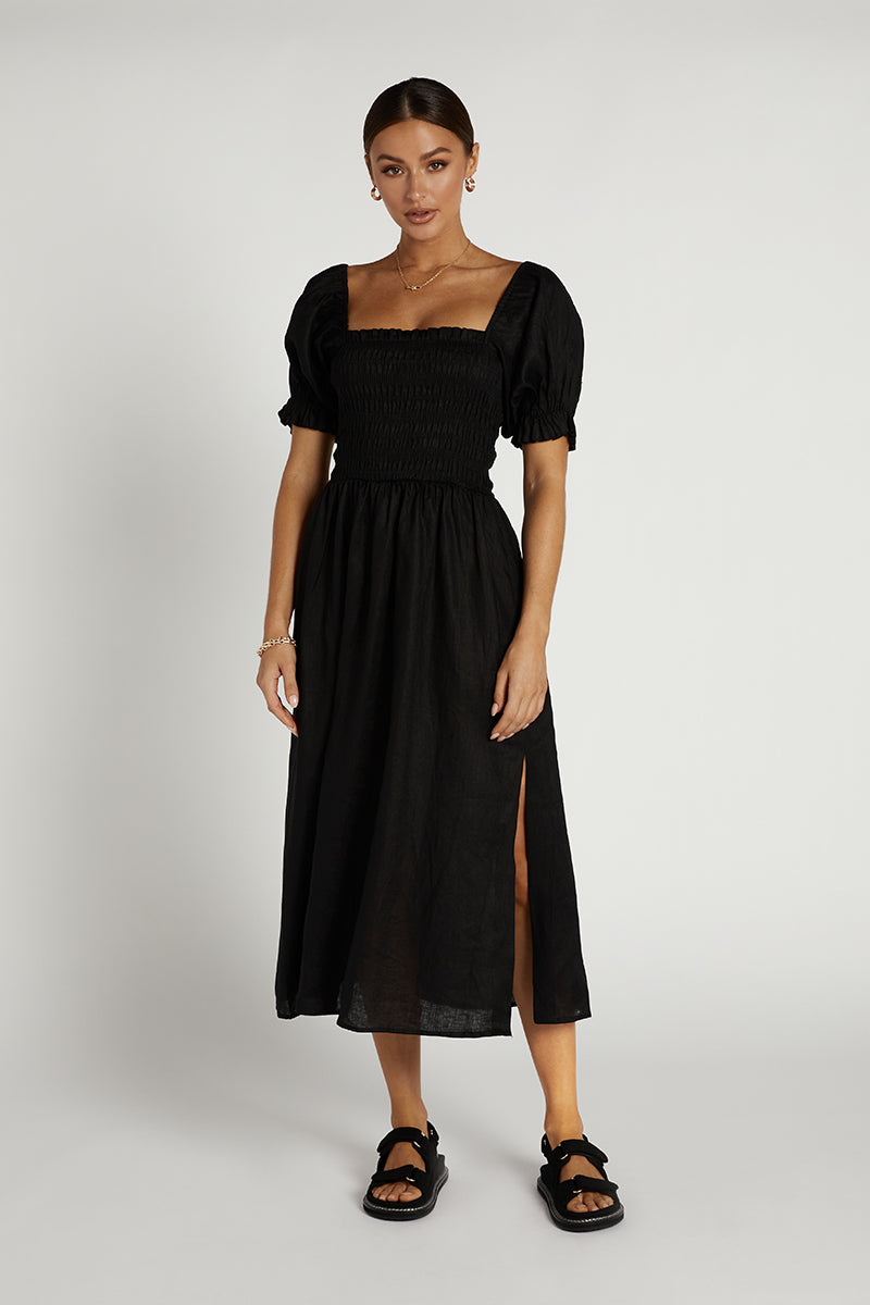 CARRIE BLACK LINEN MIDI DRESS