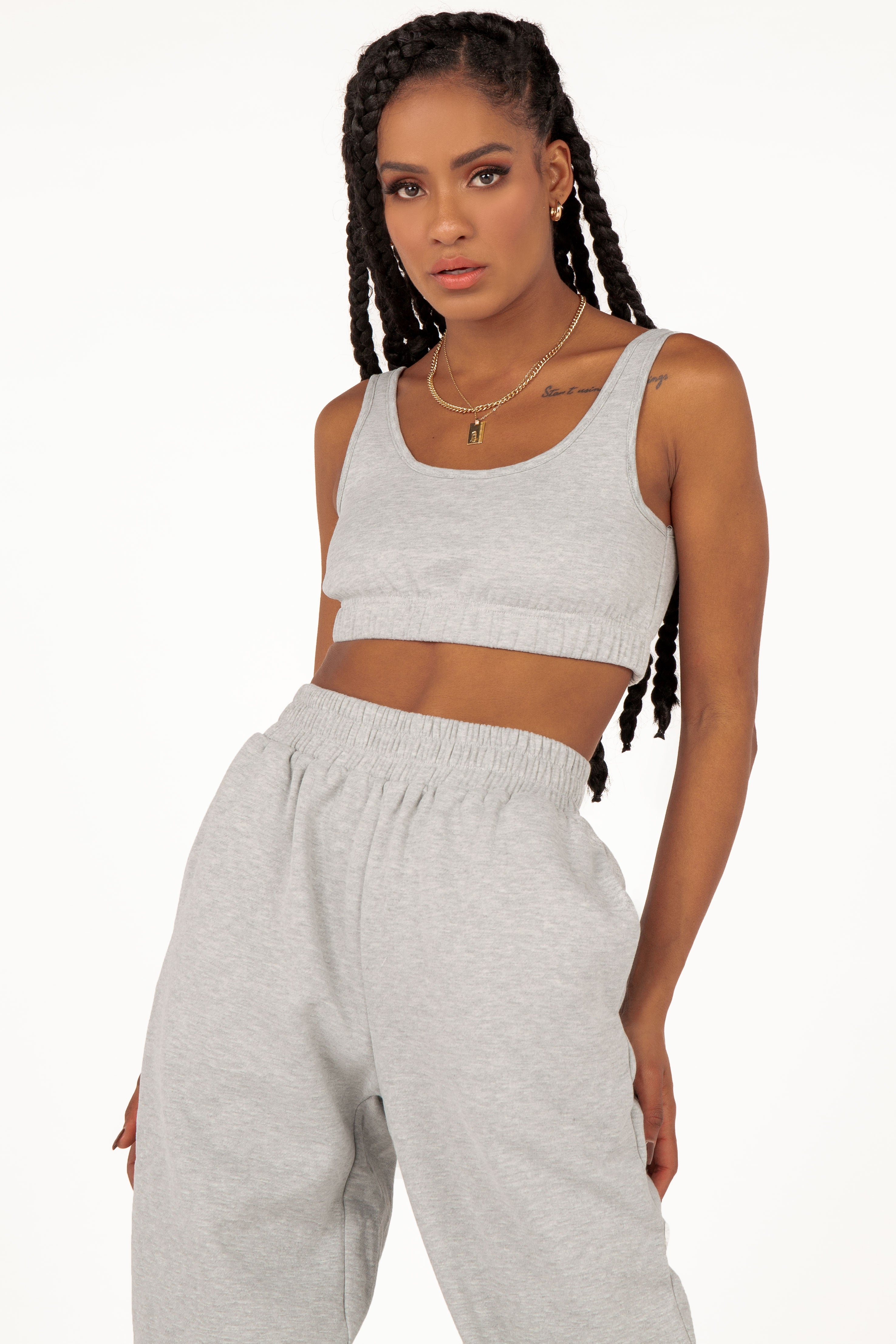 BY DYLN JAX GREY MARLE CROP