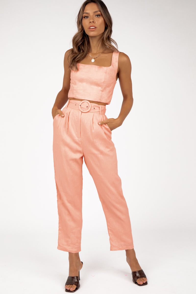 TALK DEEP PINK LINEN TAPERED PANT