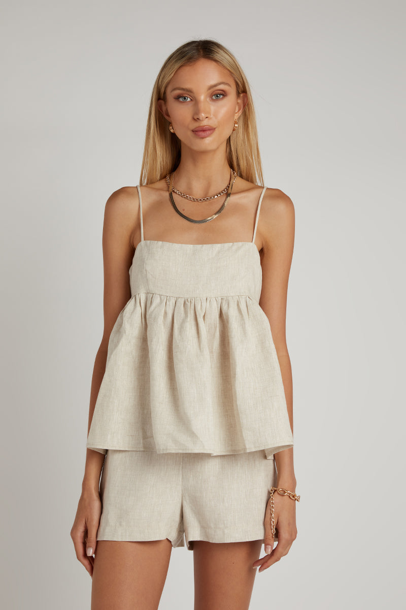 MASON NATURAL LINEN BABYDOLL TOP