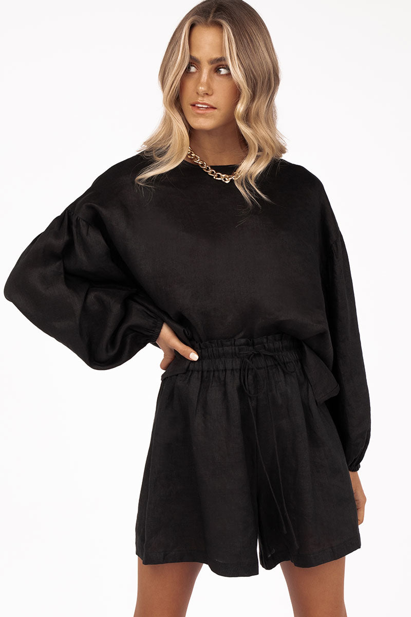 LEO DROP SHOULDER BLACK LINEN TOP