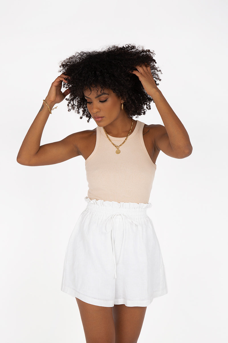 NELLIE PAPERBAG WHITE LINEN SHORT