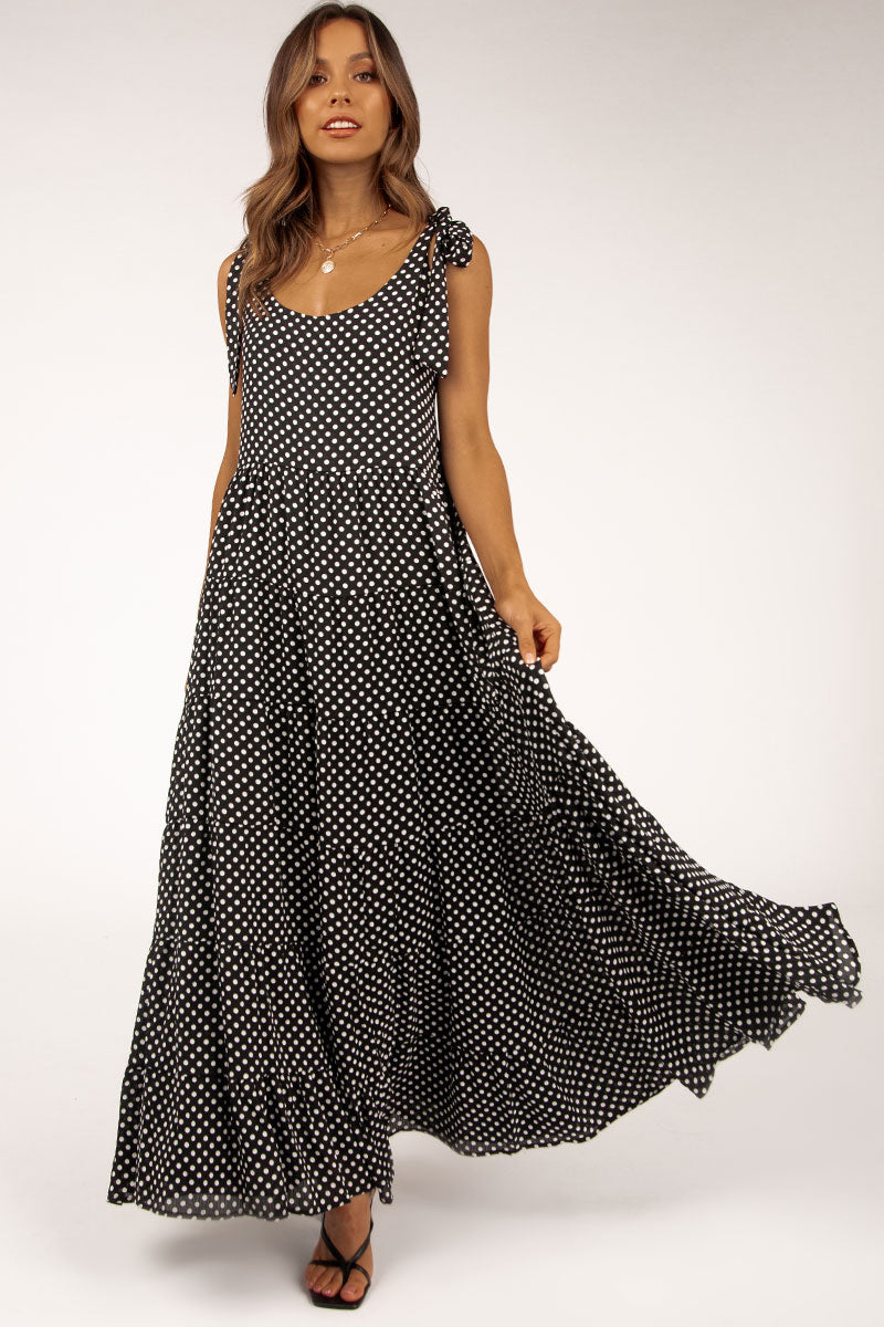 HARPER BLACK SPOT TIER MAXI DRESS