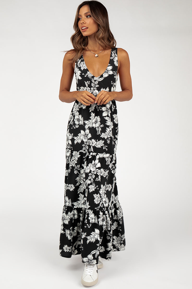 ROZALIA BLACK FLORAL MAXI DRESS