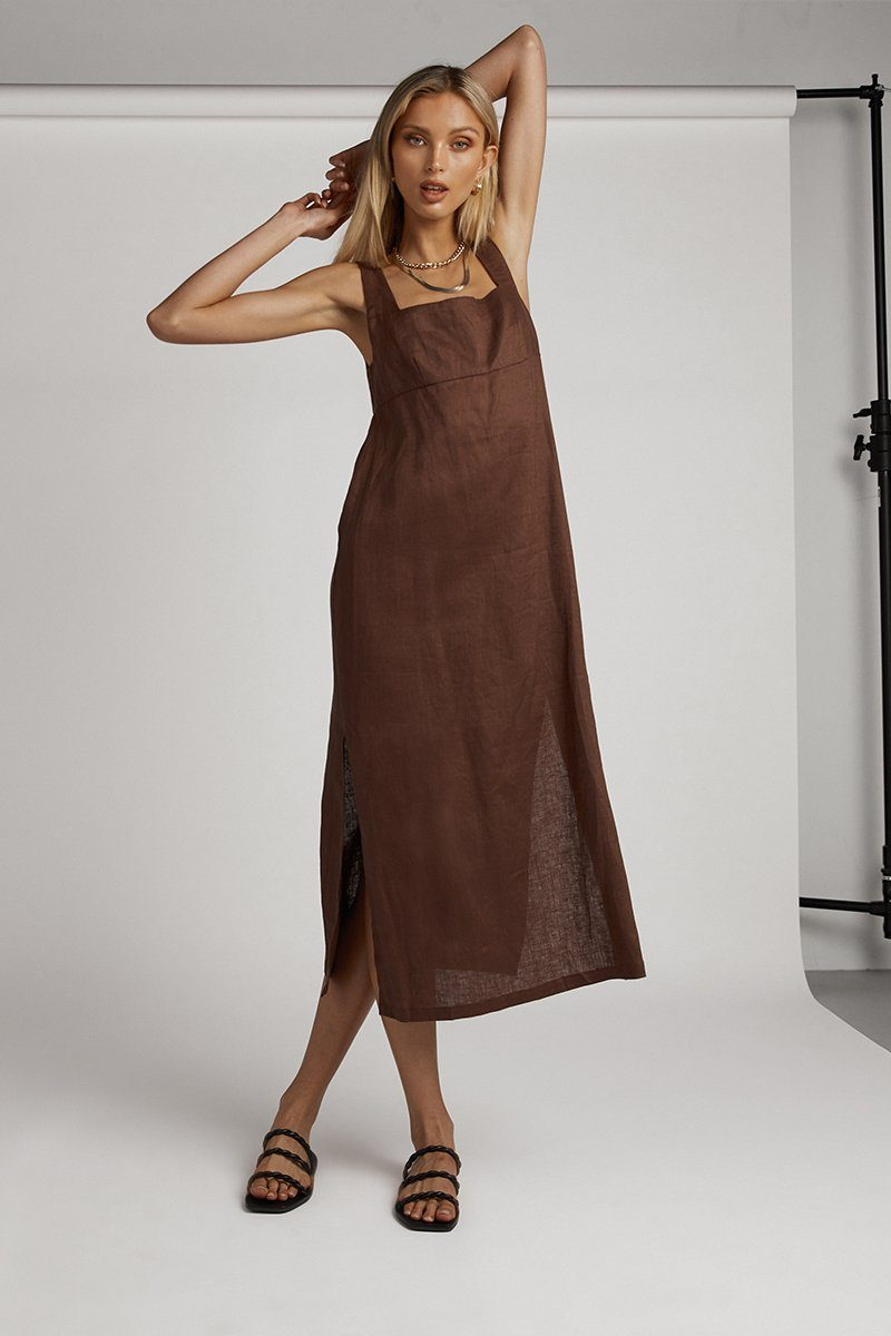 PALMER CHOCOLATE LINEN MIDI DRESS