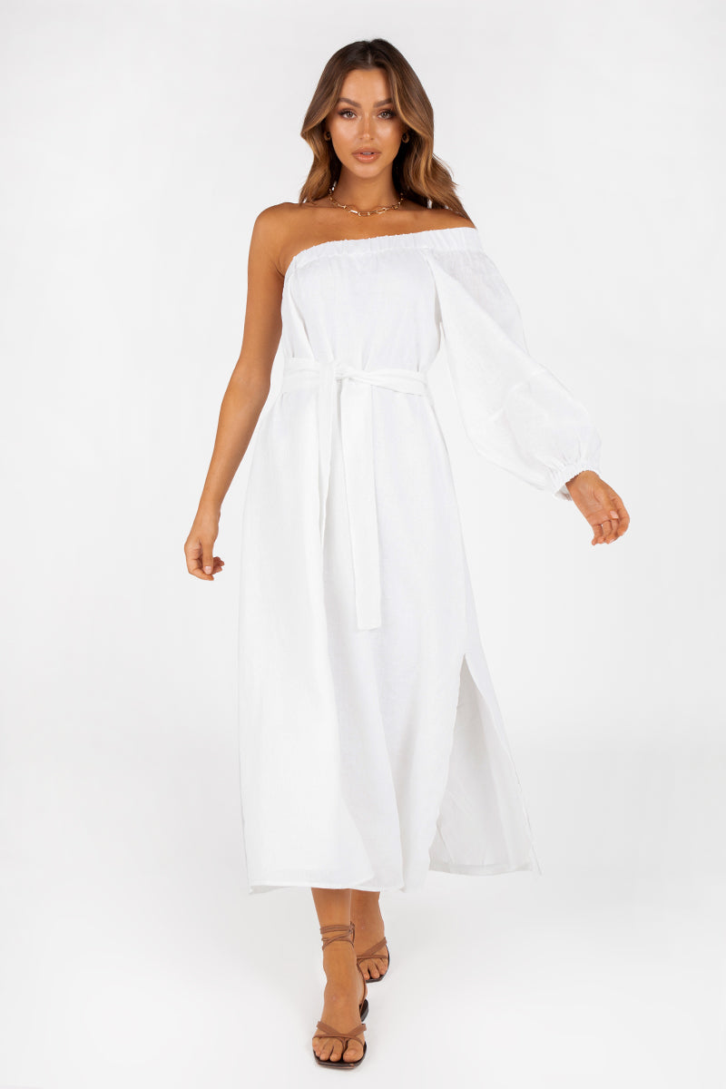 BLAKE WHITE LINEN ONE SHOULDER MIDI