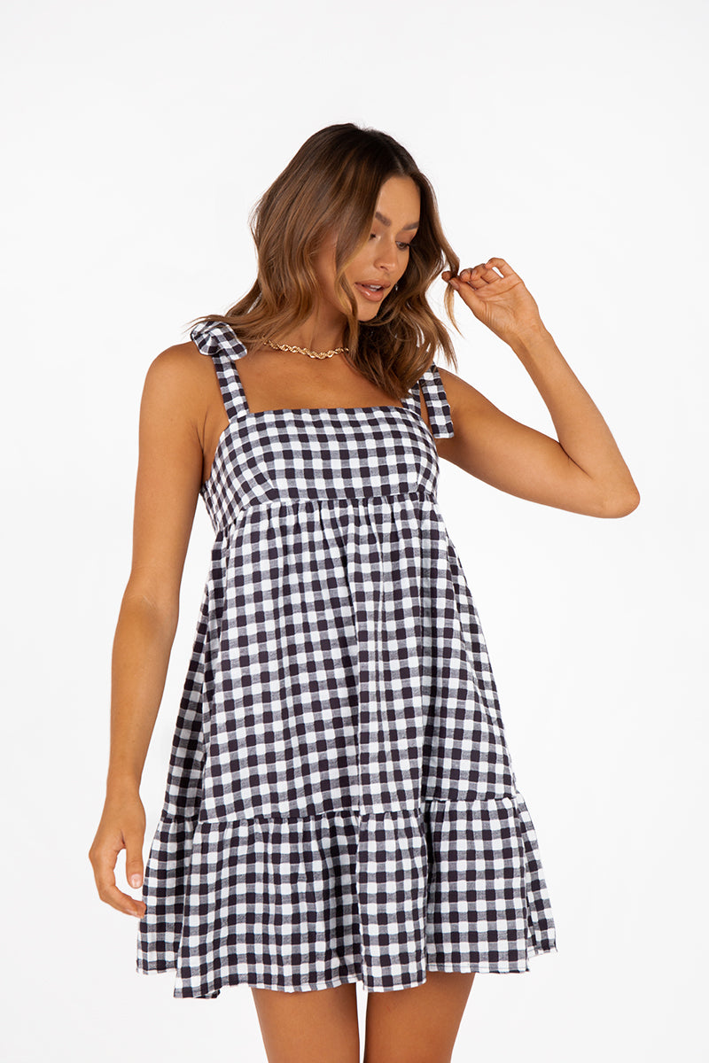 LUCIA NAVY GINGHAM FRILL MINI DRESS