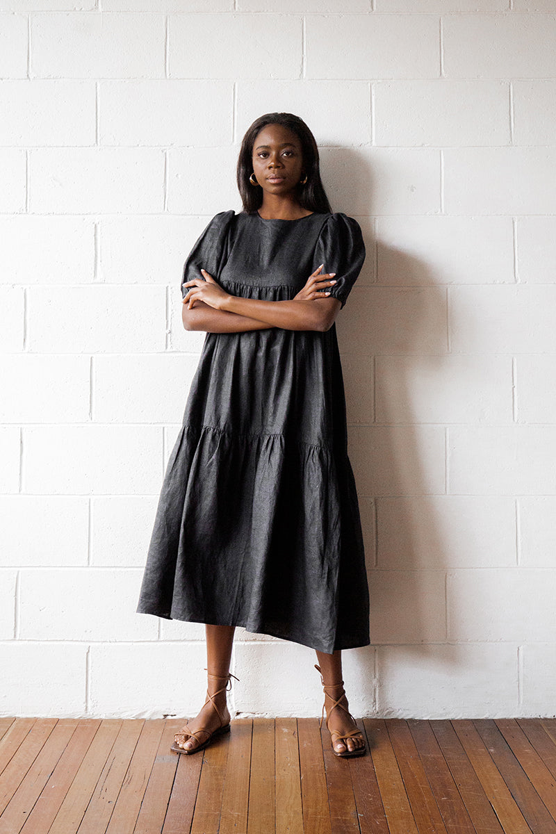 BONNIE BLACK LINEN TIER MIDI DRESS