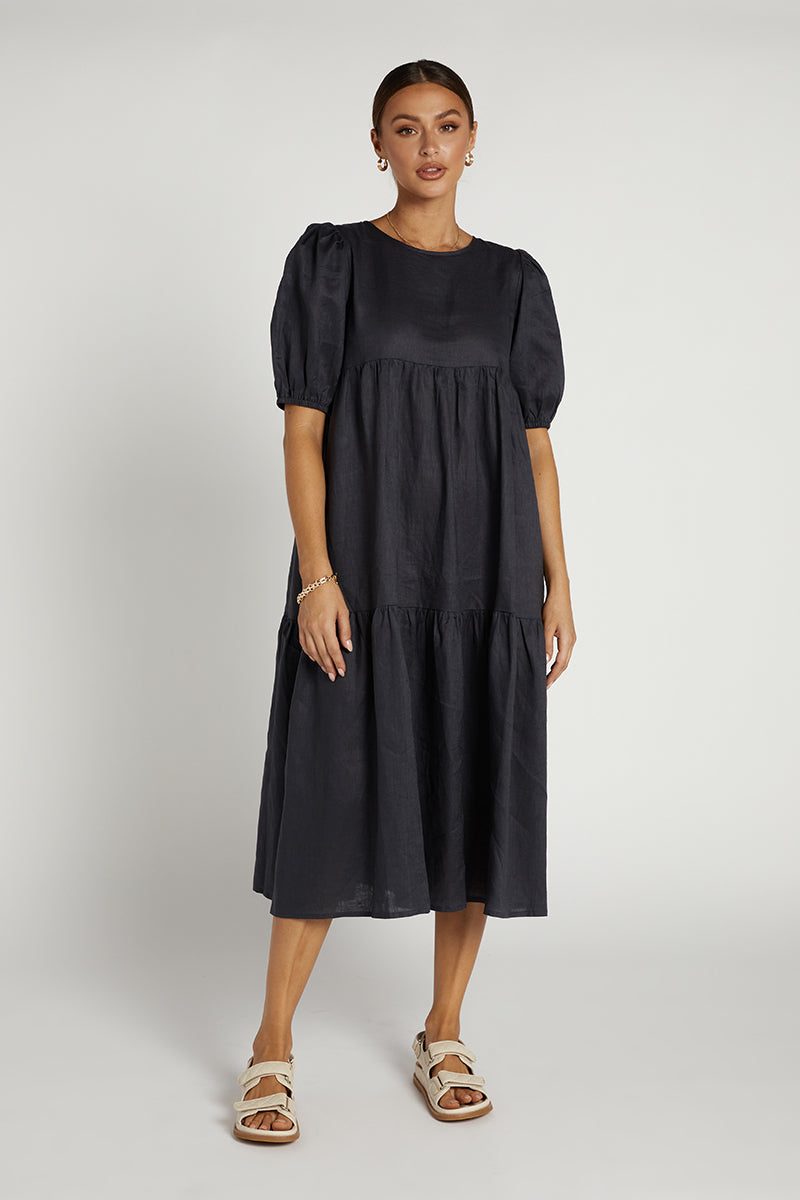 BONNIE INK LINEN TIER MIDI DRESS