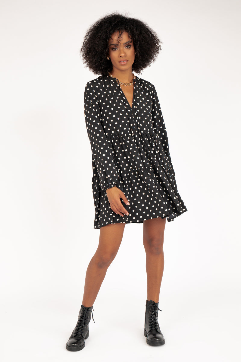 SOPHIE BLACK WHITE SPOT DRESS