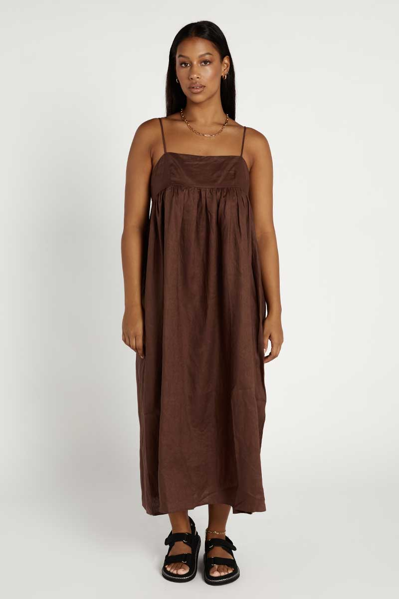 MADDOX CHOCOLATE LINEN MIDI DRESS