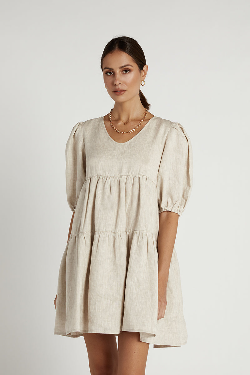 JOLEE NATURAL LINEN BABYDOLL DRESS