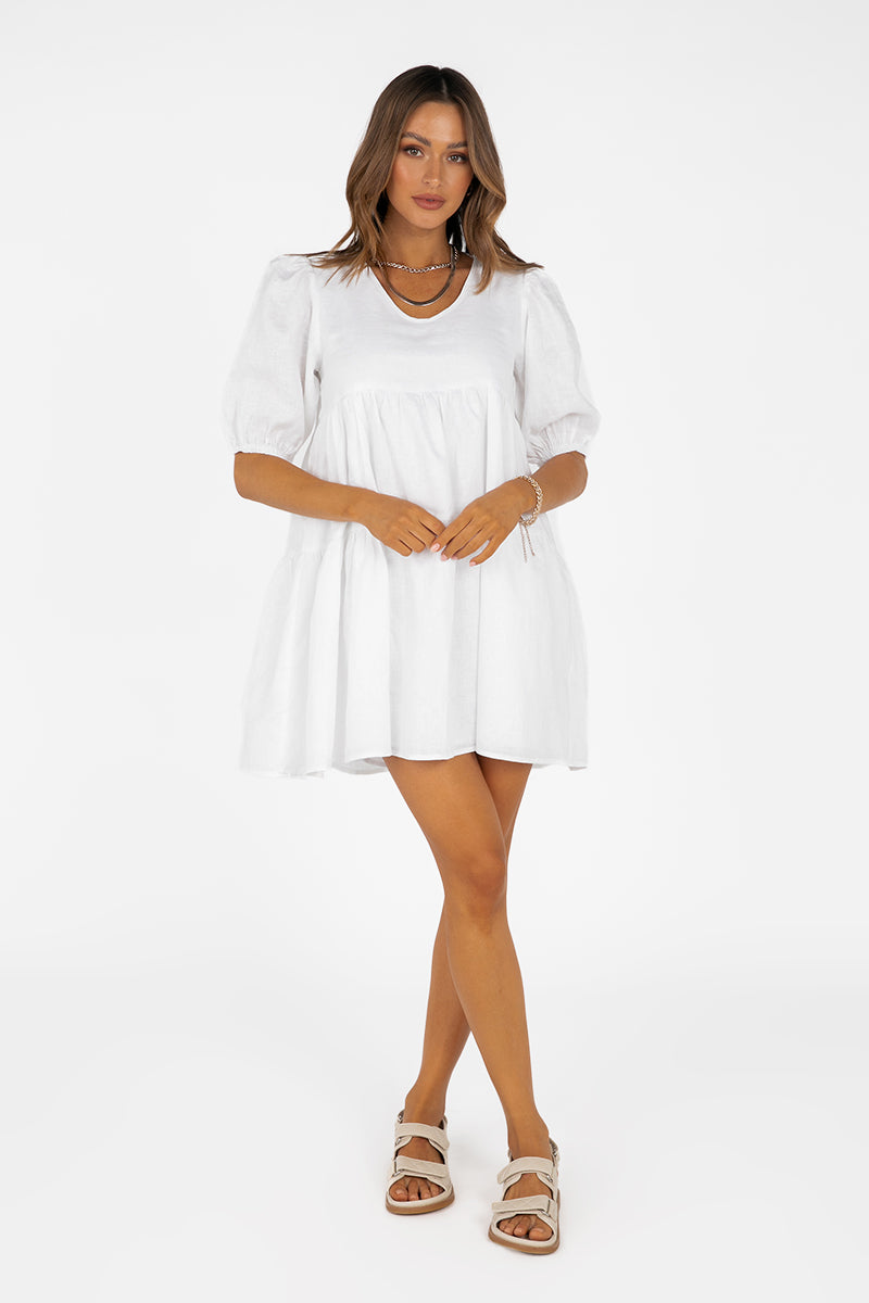 JOLEE WHITE LINEN BABYBOLL DRESS