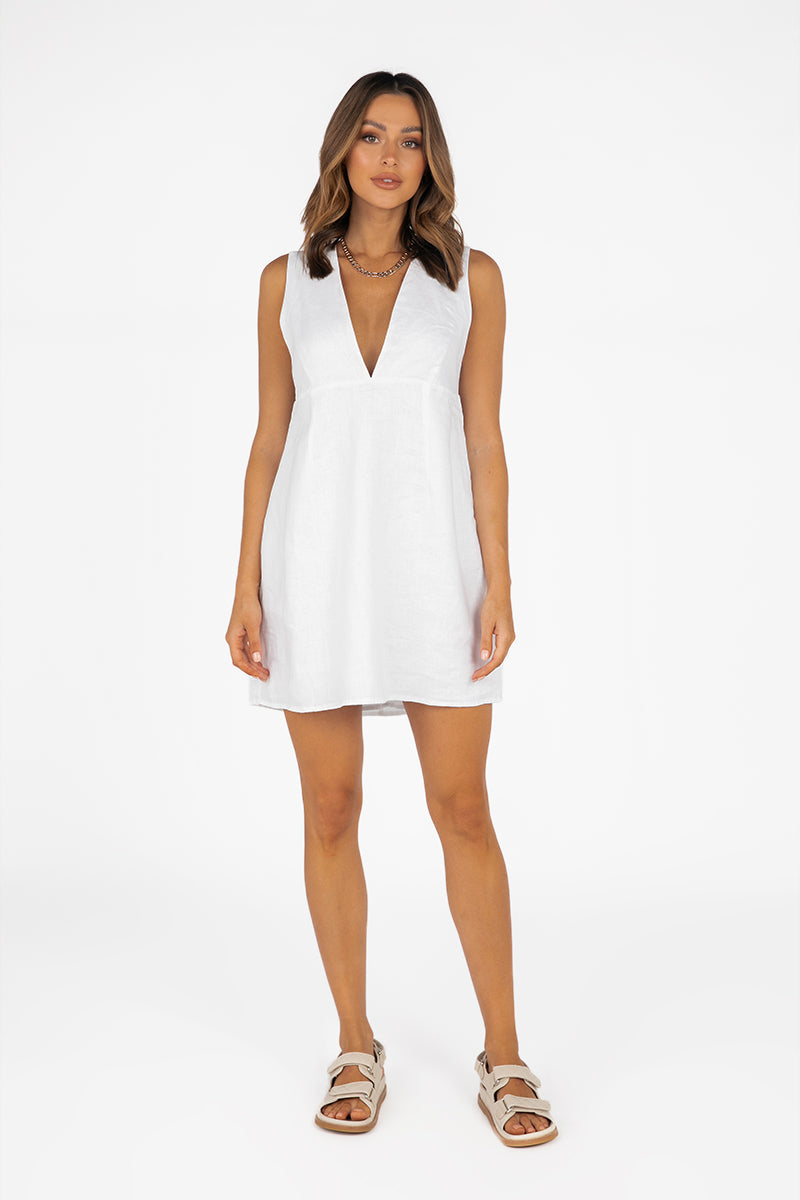 EDEN WHITE LINEN MINI DRESS
