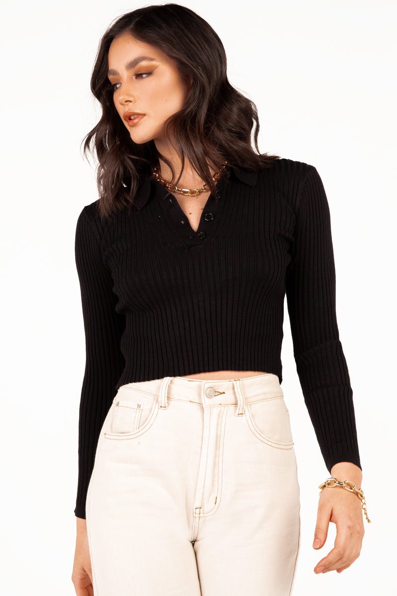 MILLICENT BLACK LONG SLEEVE KNIT