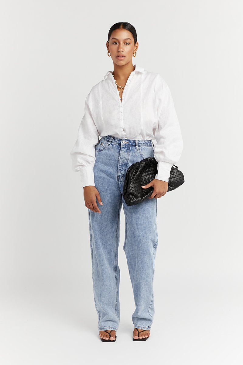 CLOE WHITE LINEN SLEEVE SHIRT